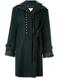 Sacai Studded Leather Trim Coat Green