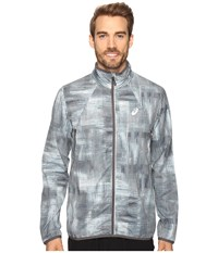 Asics Lightweight Woven Jacket Grey Linear Blur Men's Coat Gray