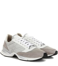 Brunello Cucinelli Paper Effect Leather And Suede Sneakers Grey
