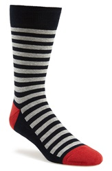 1901 Stripe Socks 3 For 20 Navy Red Grey