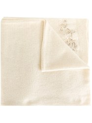 Ermanno Scervino Embroidered Knit Scarf Nude And Neutrals