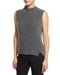 Milly Sleeveless Mock Neck Cashmere Blend Vest Gray Grey