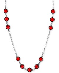 2028 Silver Tone Red Crystal Long Statement Necklace