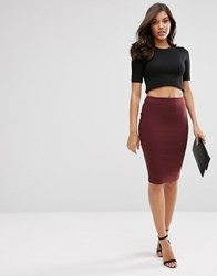 Asos High Waisted Pencil Skirt Berry Red