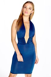 Boohoo Amy Extreme Plunge Halter Neck Dress Navy