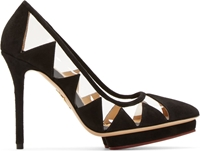Charlotte Olympia Black Suede And Vinyl Ana Maria Pumps