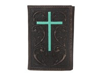 Ariat Embossed Turquoise Cross Tri Fold Wallet Brown Wallet Handbags