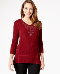 Styleandco. Style And Co. Petite Studded V Neck Sweater Tango Red