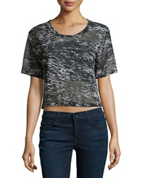 F.T.B By Fade To Blue Short Sleeve Cropped White Noise Tee Black