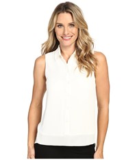 Michael Michael Kors Sleeveless Button Down Tank Top W Rib Trim Cream Women's Sleeveless Beige