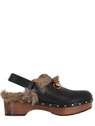 Gucci 40Mm Amstel Leather And Fur Clogs