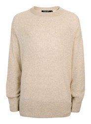 Topman Brown Design Oatmeal Cashmere Longline Jumper
