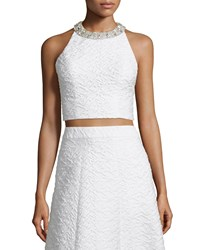 Alice Olivia Tru Sleeveless Embellished Crop Top White Size 4