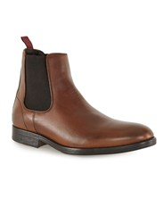 Topman Brown Tan Leather Chelsea Boots