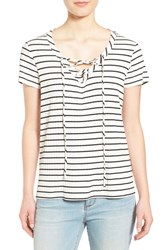 Gibson Women's Lace Up V Neck Stripe Top White Black