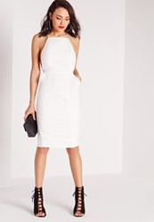 Missguided Square Neck Spaghetti Strap Midi Dress White White