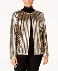 Jm Collection Plus Size Striped Metallic Jacket Only At Macy's Luxe Stripe