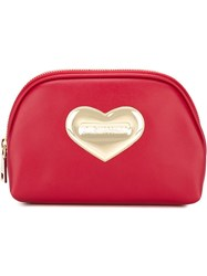 Love Moschino Heart Embellished Make Up Bag Red