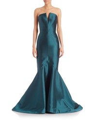 Rubin Singer Strapless Paneled Mermaid Gown Emerald Green