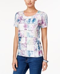 Alfred Dunner Floral Print Tiered Top Multi