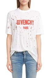 Givenchy Women's Destroyed Logo Tee White Red