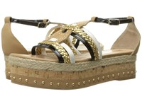 Just Cavalli Calf And Patent Leather With Rope And Cork Sand Women's Sandals Beige