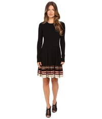 Red Valentino Stretch Viscose Dress With Inuit Pleating Black Multi