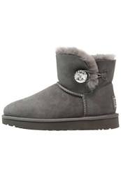 Ugg Mini Bailey Button Bling Boots Grey