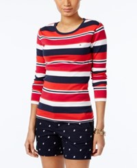 Tommy Hilfiger Long Sleeve Logo T Shirt Navy Red