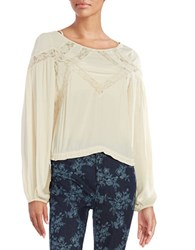 Free People Lace Accented Peasant Top Cream
