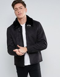 Jack And Jones Biker Jacket In Faux Suede Black