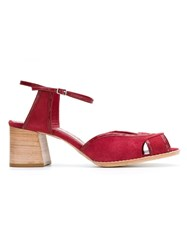 Sarah Chofakian Mid Heel Sandals Red