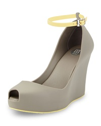 Melissa Shoes Patchouli Peep Toe Jelly Wedge Gray Yellow