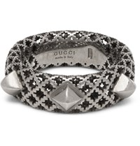 Gucci Diamantissima Palladium Plated Silver Ring Silver