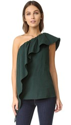 Petersyn Ella Blouse Black Green Gingham