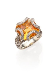 John Hardy Classic Chain Citrine Diamond And Sterling Silver Medium Braided Ring