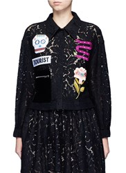 Chictopia Mixed Patch Cropped Guipure Lace Shirt Black
