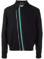Mcq By Alexander Mcqueen Striped Detail Bomber Jacket Black