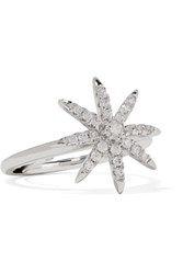 Kenneth Jay Lane Rhodium Plated Cubic Zirconia Ring Silver