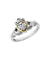 Lord And Taylor Diamond Accented Claddagh Ring In Sterling Silver With 14K Yellow Gold