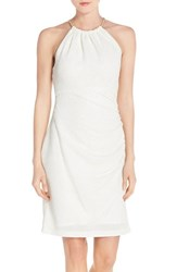 Eliza J Women's Metallic Knit Sheath Dress Ivory