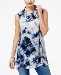 Say What Juniors' Tie Dyed Cowl Neck Tunic Blue Tie Dye Combo