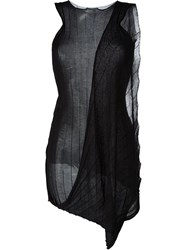 Masnada Draped Sleeveless Knit Top Black