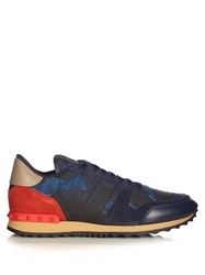 Valentino Rockrunner Camoucouture Print Denim Trainers Blue Multi