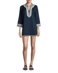Tory Burch Embroidered 3 4 Sleeve Cotton Coverup Tunic Navy Tory Navy