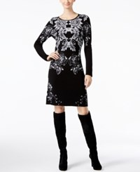 Inc International Concepts Petite Floral Sweater Dress Only At Macy's Deep Black