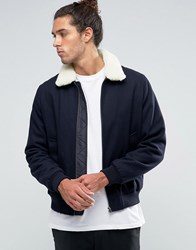 Asos Wool Mix Bomber Jacket With Borg Collar In Navy Navy