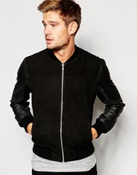 Selected Homme Suede And Leather Bomber Jacket Black