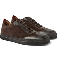 Oliver Spencer Suede And Embossed Leather Sneakers Dark Brown