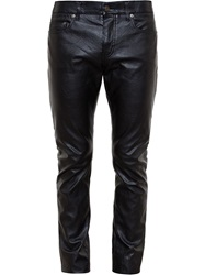Saint Laurent Slim Faux Leather Jeans Black
